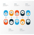 music icons colored line set with drum strings vector image vector image