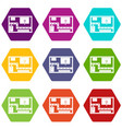 navigator icon set color hexahedron vector image vector image
