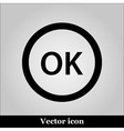 OK flat icon on grey background vector image vector image