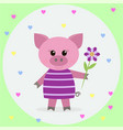 pink pig in a dress and a flower vector image vector image