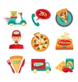 Pizza Fast Delivery Icons Set vector image