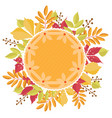 pumpkin pie with dough decoration with a autumn vector image