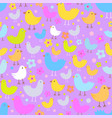 seamless pattern with cute funny cartoon birds vector image vector image