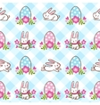 Seamless pattern with Easter bunnies and eggs vector image vector image