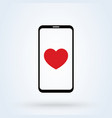 sending love message sign icon or logo phone and vector image vector image