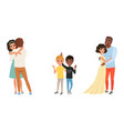 set different families with kids happy family vector image vector image