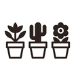 set flowers in pots vector image vector image