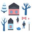 set of winter city elements vector image vector image