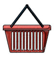 shopping basket in colored crayon silhouette vector image vector image