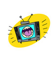 shouting television set vector image vector image