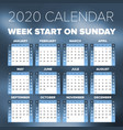 simple 2020 year calendar vector image vector image