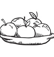 simple black and white apples vector image