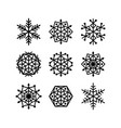 snowflakes set line style symmetric black vector image vector image