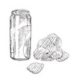 soda can with chips monochrome sketch vector image vector image