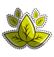 sticker green leaves eco health food vector image vector image