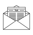tax mail icon outline style vector image