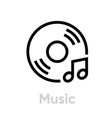 vinyl and music note icon vector image