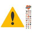 warning icon with lovely bonus vector image vector image