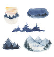 watercolor set forest winter landscapes vector image vector image
