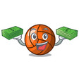 with money volleyball mascot cartoon style vector image vector image