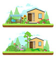 summer day in garden summer landscapes with vector image