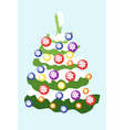 Christmas tree decorated with colored balls with vector image