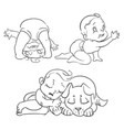 hand drawn cute baby set vector image