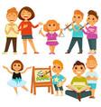 happy children kindergarten playing activity vector image