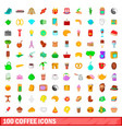 100 coffee icons set cartoon style vector image vector image