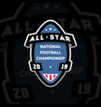 all star american football logo on a dark vector image vector image