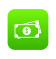 american dollars icon digital green vector image vector image