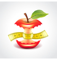 Apple stub with measuring tape vector image