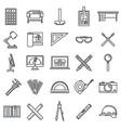 architect material tool icons set outline style vector image