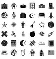 astronomy robot icons set simple style vector image