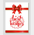 best wishes greeting card on xmas new year gift vector image vector image