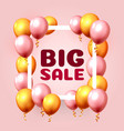 big sale balloon market frame on pink vector image vector image