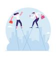 businessman and businesswoman walking balancing vector image vector image