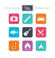 Camping travel icons Fishing tourist tent vector image vector image