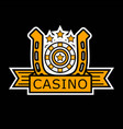 casino poker logo template gambler roulette and vector image vector image