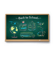 chalk drawn collection education items vector image