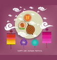 chinese moon cake and green tea for mid autumn vector image vector image