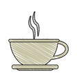 color crayon stripe cartoon crockery cup of coffee vector image vector image
