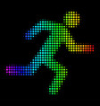 colored dot running man icon vector image