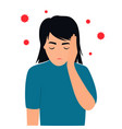 covid19-19 coronavirus symptoms headache the girl vector image vector image