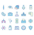 covid19 19 virus line and fill style icon set vector image vector image