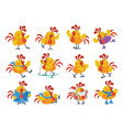cute cartoon roosters flat icon set vector image vector image