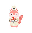 Cute cat in chef uniform cartoon animal character