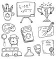 Doodle hand draw school education vector image vector image
