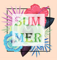 frame with slogan summer on tropical leaves vector image vector image