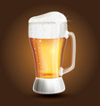 glass beer on a brown gradient background vector image vector image